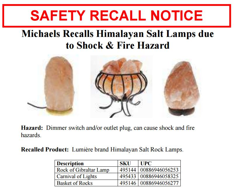 wbir.com | RECALL ALERT: Thousands of salt lamps are shock, fire ...